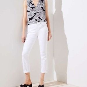 Loft modern crop white jeans